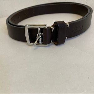 Coach brown leather Large belt with brass buckle